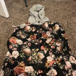 Floral hooded bomber